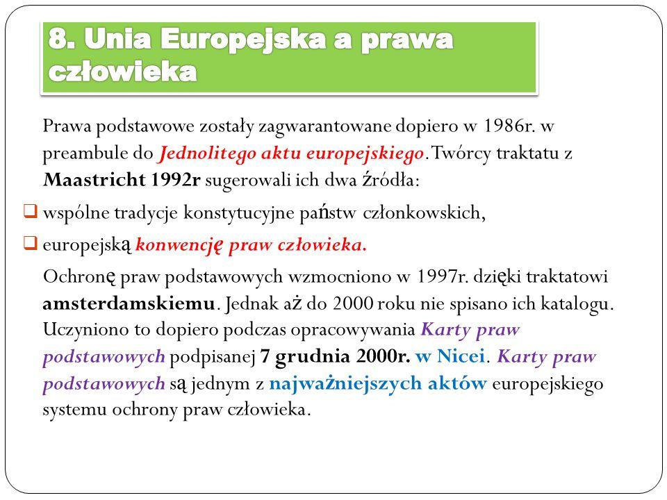 Prawa podstawowe zostały zagwarantowane dopiero w 1986r. w preambule do Jednolitego aktu europejskiego. Twórcy traktatu z Maastricht 1992r sugerowali