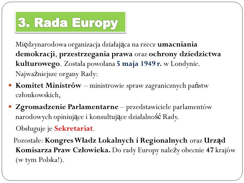 Po utworzeniu Rady Europy w latach 50.XX w.