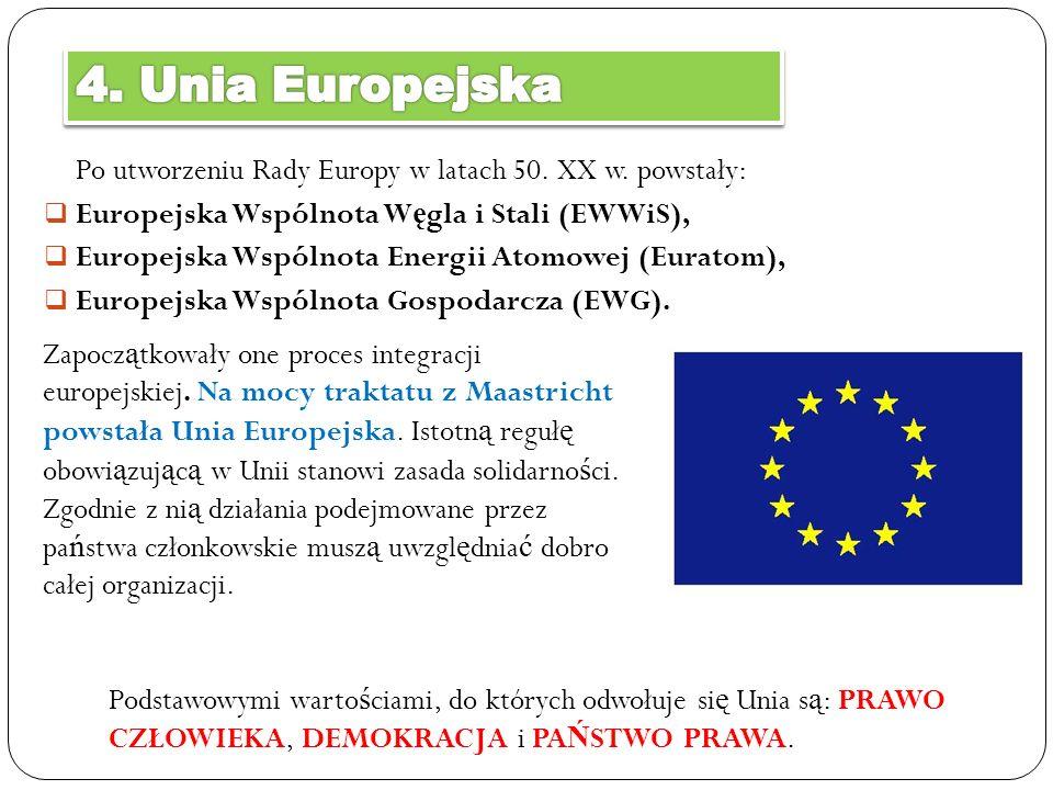 Po utworzeniu Rady Europy w latach 50. XX w. powstały: Europejska Wspólnota W ę gla i Stali (EWWiS), Europejska Wspólnota Energii Atomowej (Euratom),