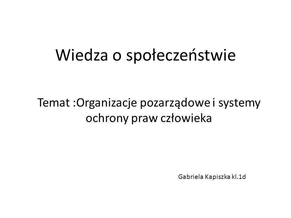 Wiedza o społeczeństwie Temat :Organizacje pozarządowe i systemy ochrony praw człowieka Gabriela Kapiszka kl.1d