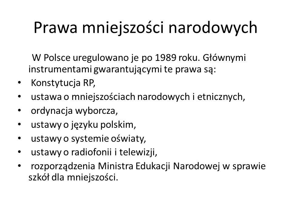 Prawa mniejszości narodowych W Polsce uregulowano je po 1989 roku. Głównymi instrumentami gwarantującymi te prawa są: Konstytucja RP, ustawa o mniejsz