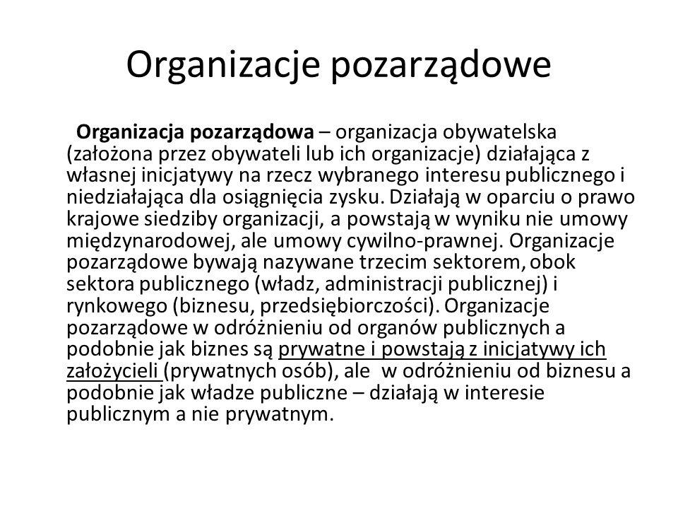 Organizacje pozarządowe Organizacja pozarządowa – organizacja obywatelska (założona przez obywateli lub ich organizacje) działająca z własnej inicjaty