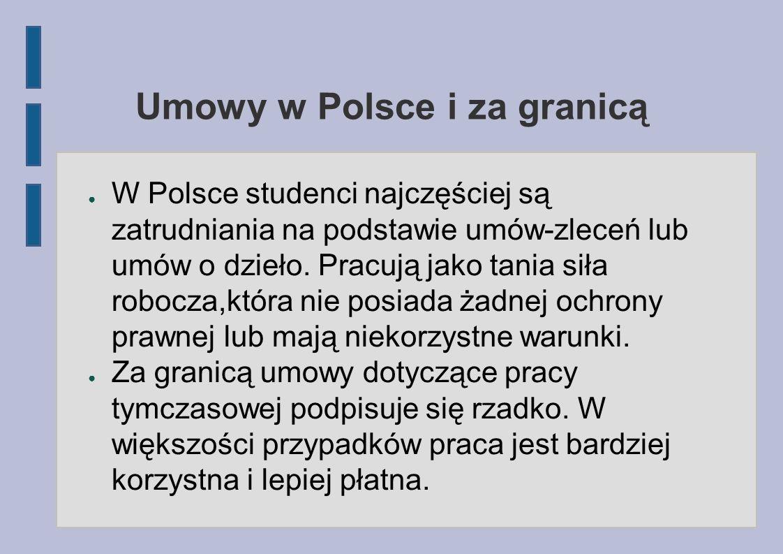 Umowy w Polsce i za granicą W Polsce studenci najczęściej są zatrudniania na podstawie umów-zleceń lub umów o dzieło. Pracują jako tania siła robocza,