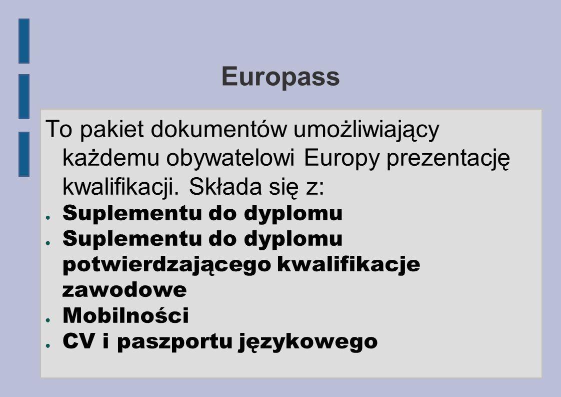 Europass To pakiet dokumentów umożliwiający każdemu obywatelowi Europy prezentację kwalifikacji. Składa się z: Suplementu do dyplomu Suplementu do dyp