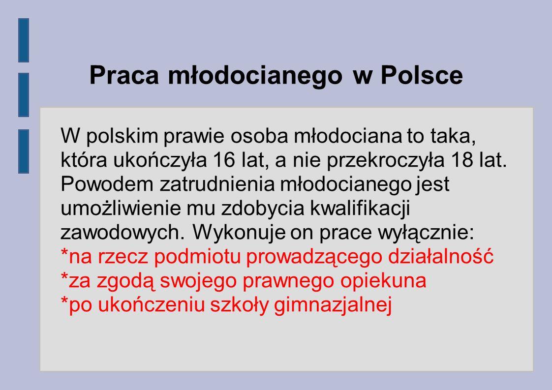 Praca młodocianego w Polsce W polskim prawie osoba młodociana to taka, która ukończyła 16 lat, a nie przekroczyła 18 lat. Powodem zatrudnienia młodoci