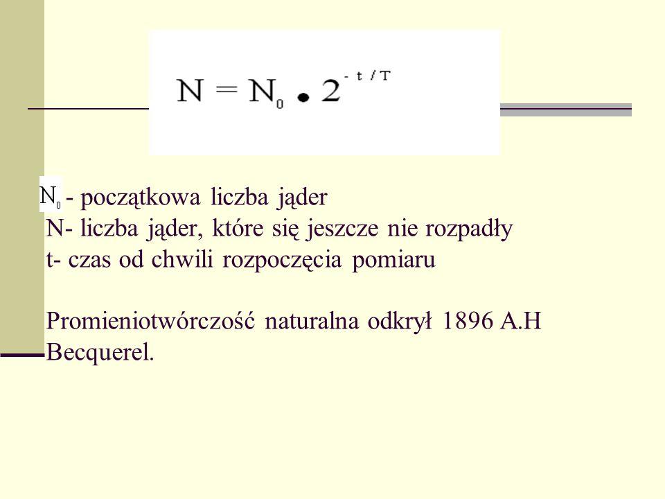 - początkowa liczba jąder N- liczba jąder, które się jeszcze nie rozpadły t- czas od chwili rozpoczęcia pomiaru Promieniotwórczość naturalna odkrył 18