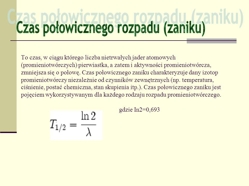To czas, w ciągu którego liczba nietrwałych jader atomowych (promieniotwórczych) pierwiastka, a zatem i aktywności promieniotwórcza, zmniejsza się o p