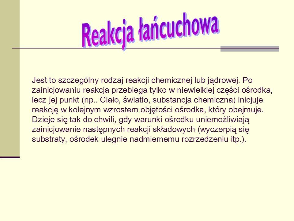 Jest to szczególny rodzaj reakcji chemicznej lub jądrowej. Po zainicjowaniu reakcja przebiega tylko w niewielkiej części ośrodka, lecz jej punkt (np..