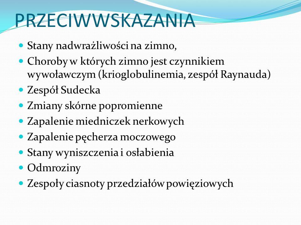 PRZECIWWSKAZANIA Stany nadwrażliwości na zimno, Choroby w których zimno jest czynnikiem wywoławczym (krioglobulinemia, zespół Raynauda) Zespół Sudecka