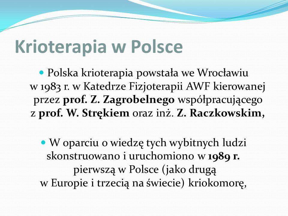 Krioterapia w Polsce Polska krioterapia powstała we Wrocławiu w 1983 r. w Katedrze Fizjoterapii AWF kierowanej przez prof. Z. Zagrobelnego współpracuj