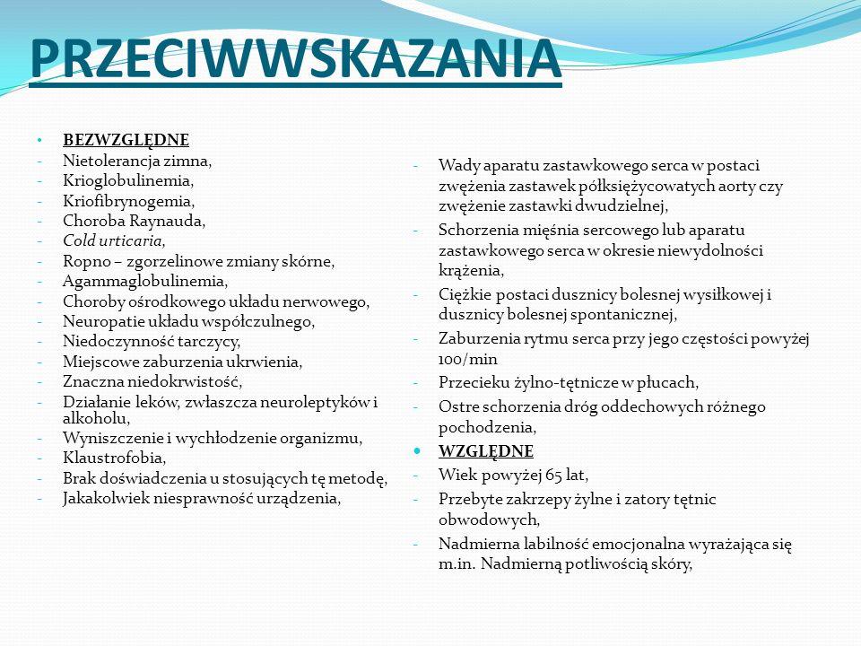 PRZECIWWSKAZANIA BEZWZGLĘDNE - Nietolerancja zimna, - Krioglobulinemia, - Kriofibrynogemia, - Choroba Raynauda, - Cold urticaria, - Ropno – zgorzelino