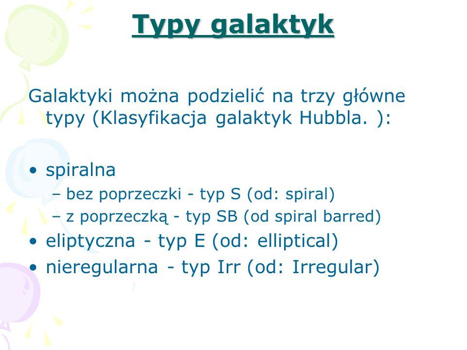 Typy galaktyk Galaktyki można podzielić na trzy główne typy (Klasyfikacja galaktyk Hubbla. ): spiralna –bez poprzeczki - typ S (od: spiral) –z poprzec