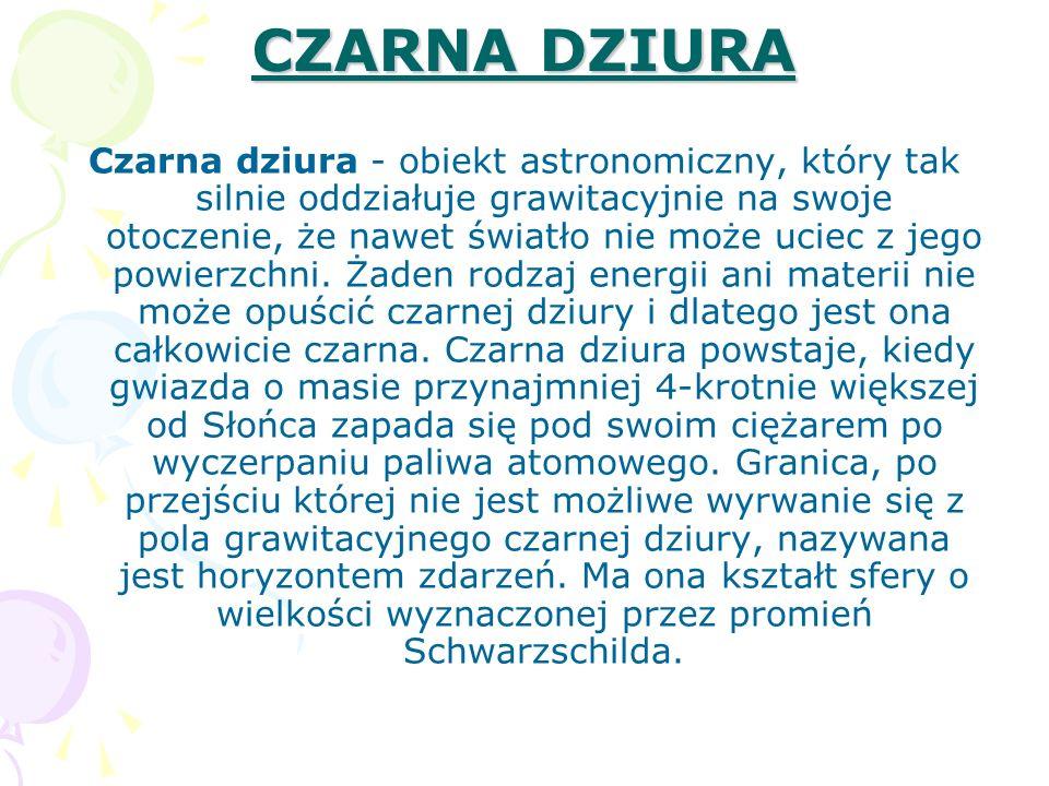 CZARNA DZIURA Czarna dziura - obiekt astronomiczny, który tak silnie oddziałuje grawitacyjnie na swoje otoczenie, że nawet światło nie może uciec z je