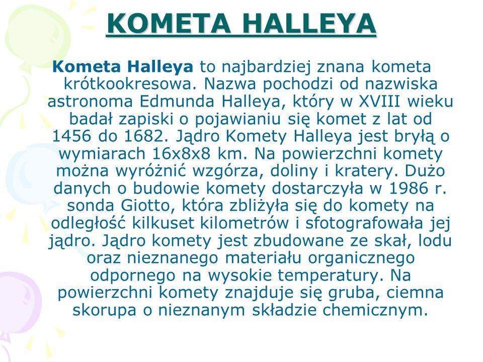 KOMETA HALLEYA Kometa Halleya to najbardziej znana kometa krótkookresowa. Nazwa pochodzi od nazwiska astronoma Edmunda Halleya, który w XVIII wieku ba
