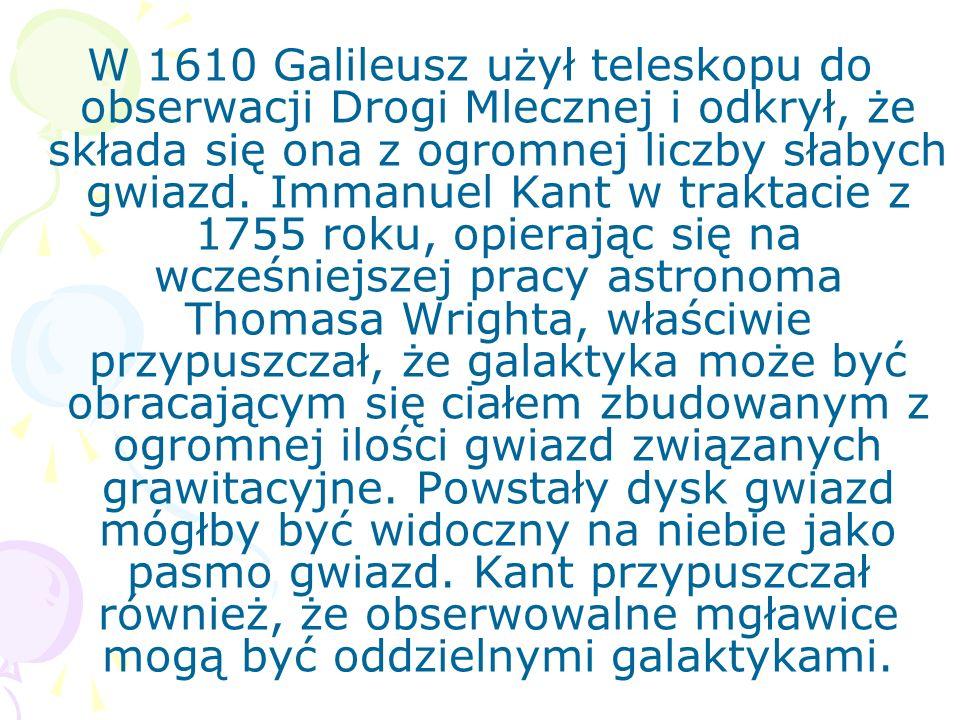 W 1610 Galileusz użył teleskopu do obserwacji Drogi Mlecznej i odkrył, że składa się ona z ogromnej liczby słabych gwiazd. Immanuel Kant w traktacie z