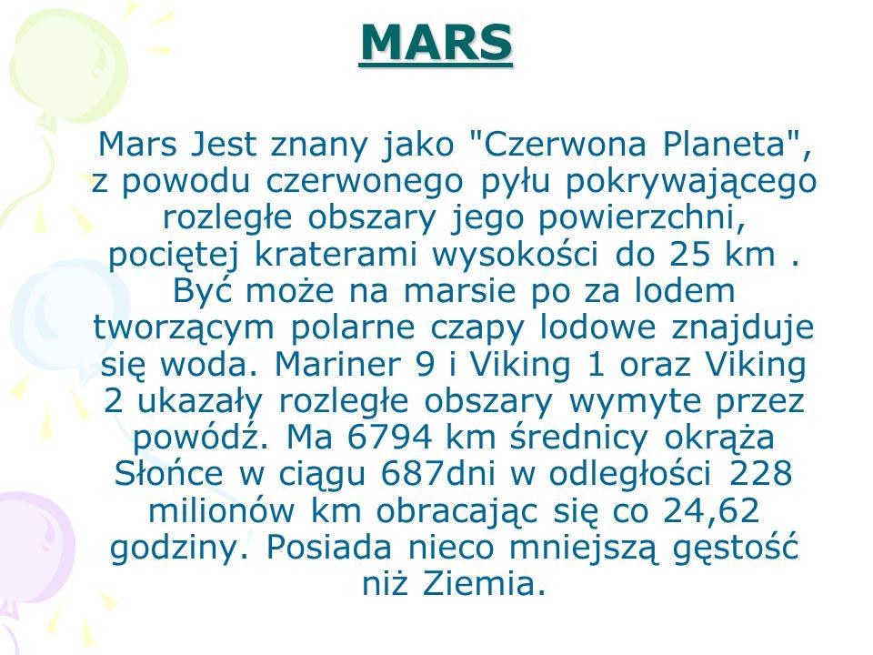 MARS Mars Jest znany jako