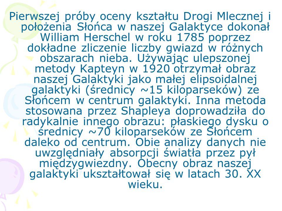 Pierwszej próby oceny kształtu Drogi Mlecznej i położenia Słońca w naszej Galaktyce dokonał William Herschel w roku 1785 poprzez dokładne zliczenie li
