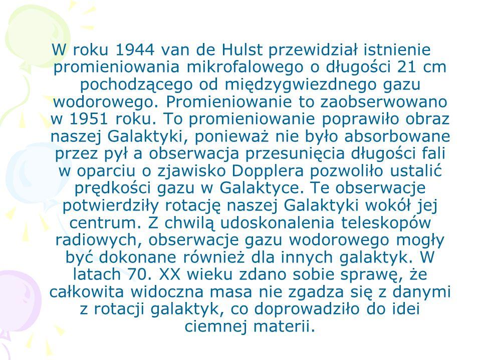 W roku 1944 van de Hulst przewidział istnienie promieniowania mikrofalowego o długości 21 cm pochodzącego od międzygwiezdnego gazu wodorowego. Promien