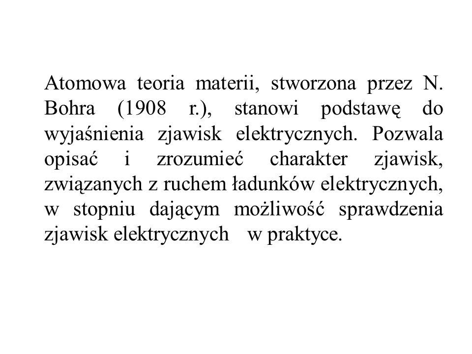 Atomowa teoria materii, stworzona przez N. Bohra (1908 r.), stanowi podstawę do wyjaśnienia zjawisk elektrycznych. Pozwala opisać i zrozumieć charakte