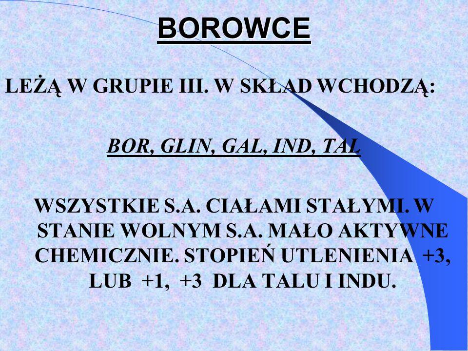 BOROWCE LEŻĄ W GRUPIE III.W SKŁAD WCHODZĄ: BOR, GLIN, GAL, IND, TAL WSZYSTKIE S.A.