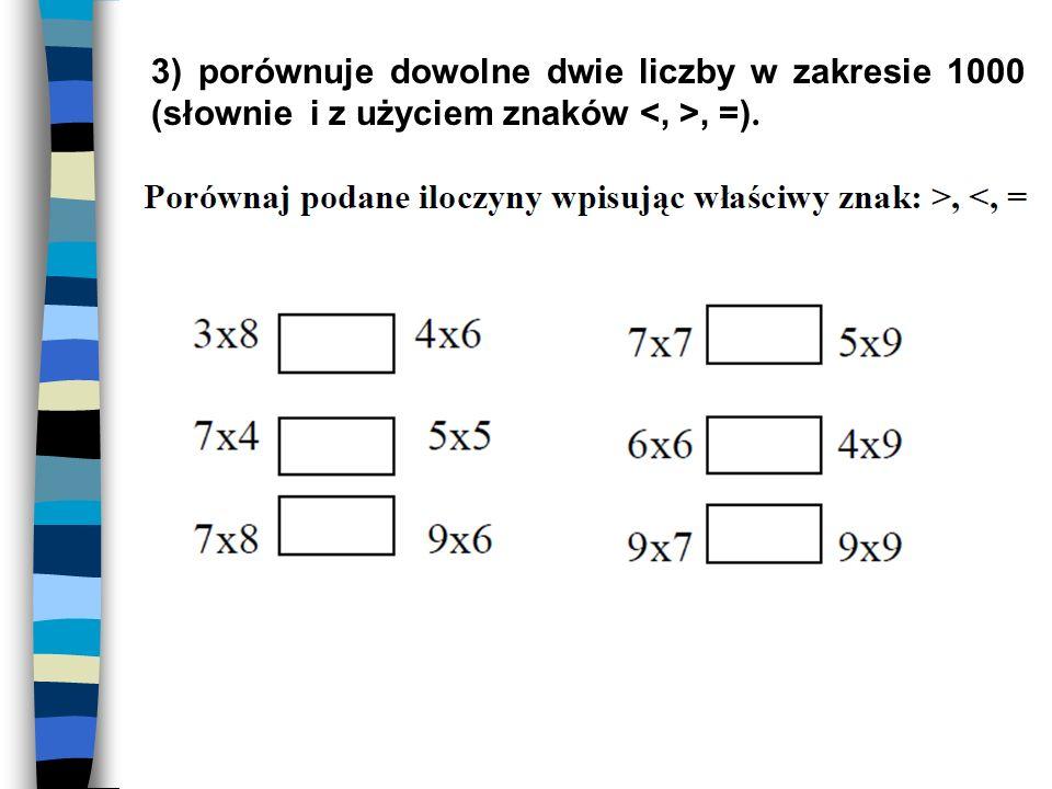 3) porównuje dowolne dwie liczby w zakresie 1000 (słownie i z użyciem znaków, =).
