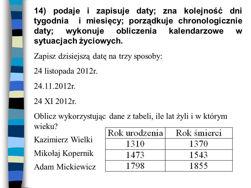 14) podaje i zapisuje daty; zna kolejność dni tygodnia i miesięcy; porządkuje chronologicznie daty; wykonuje obliczenia kalendarzowe w sytuacjach życiowych.