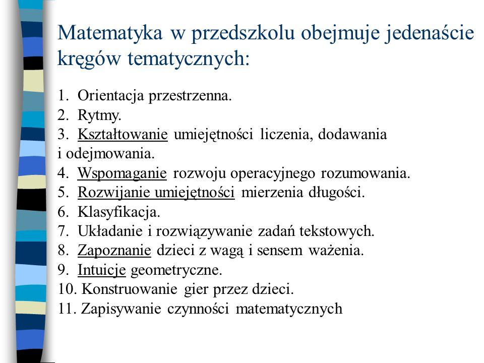 Matematyka w przedszkolu obejmuje jedenaście kręgów tematycznych: 1.