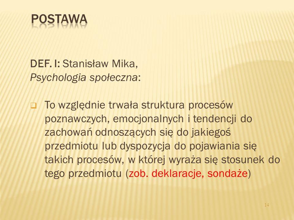 DEF. I: Stanisław Mika, Psychologia społeczna: To względnie trwała struktura procesów poznawczych, emocjonalnych i tendencji do zachowań odnoszących s