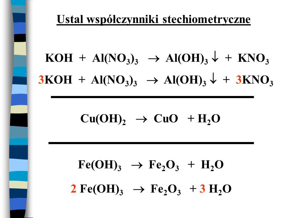 KOH + Al(NO 3 ) 3 Al(OH) 3 + KNO 3 Cu(OH) 2 CuO + H 2 O Fe(OH) 3 Fe 2 O 3 + H 2 O 3KOH + Al(NO 3 ) 3 Al(OH) 3 + 3KNO 3 Ustal współczynniki stechiometr