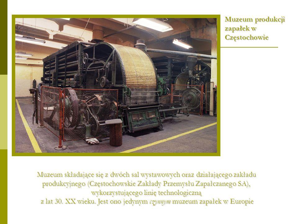 Muzeum składające się z dwóch sal wystawowych oraz działającego zakładu produkcyjnego (Częstochowskie Zakłady Przemysłu Zapałczanego SA), wykorzystują