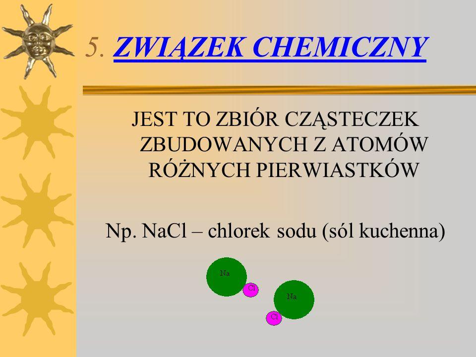 5. ZWIĄZEK CHEMICZNY JEST TO ZBIÓR CZĄSTECZEK ZBUDOWANYCH Z ATOMÓW RÓŻNYCH PIERWIASTKÓW Np. NaCl – chlorek sodu (sól kuchenna)