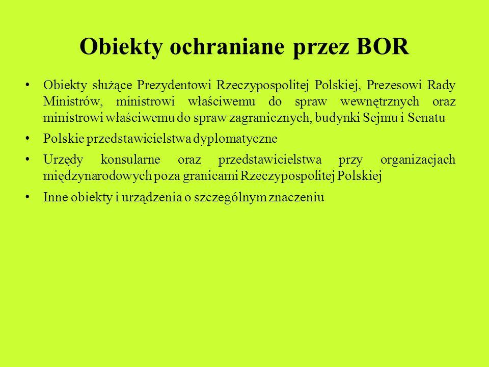Obiekty ochraniane przez BOR Obiekty służące Prezydentowi Rzeczypospolitej Polskiej, Prezesowi Rady Ministrów, ministrowi właściwemu do spraw wewnętrz