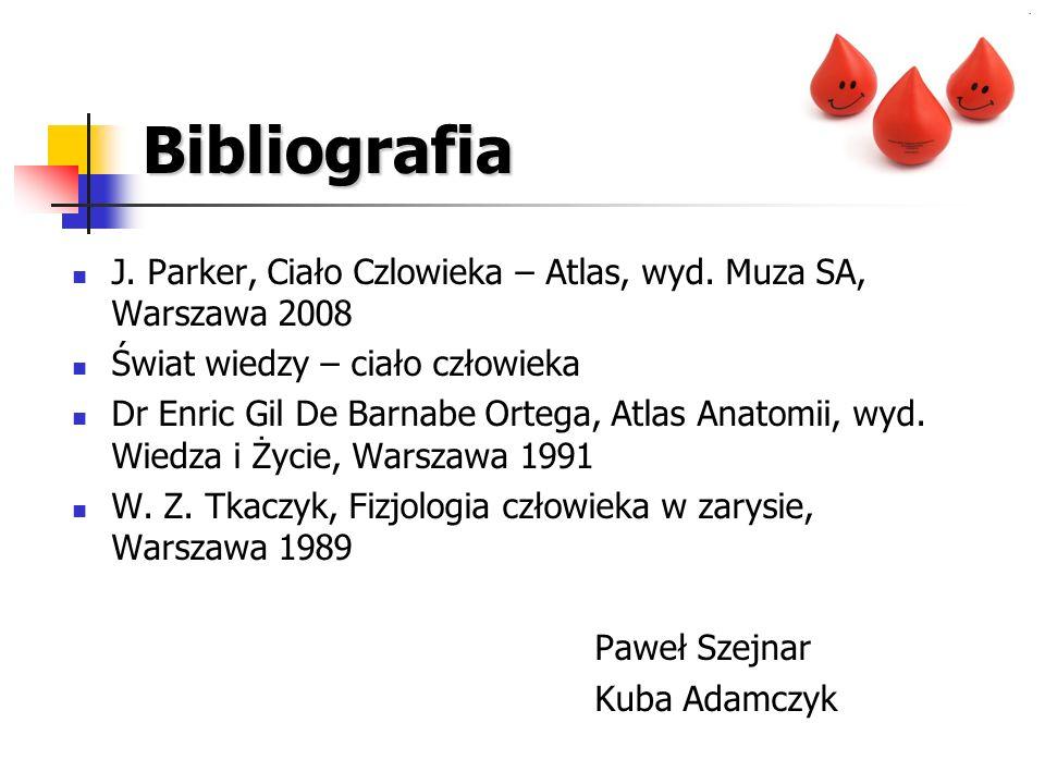Bibliografia J. Parker, Ciało Czlowieka – Atlas, wyd. Muza SA, Warszawa 2008 Świat wiedzy – ciało człowieka Dr Enric Gil De Barnabe Ortega, Atlas Anat