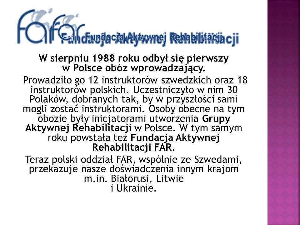 W sierpniu 1988 roku odbył się pierwszy w Polsce obóz wprowadzający. Prowadziło go 12 instruktorów szwedzkich oraz 18 instruktorów polskich. Uczestnic