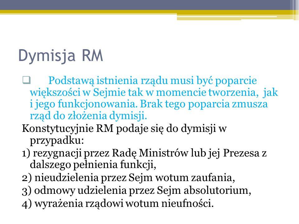 Dymisja RM Podstawą istnienia rządu musi być poparcie większości w Sejmie tak w momencie tworzenia, jak i jego funkcjonowania. Brak tego poparcia zmus