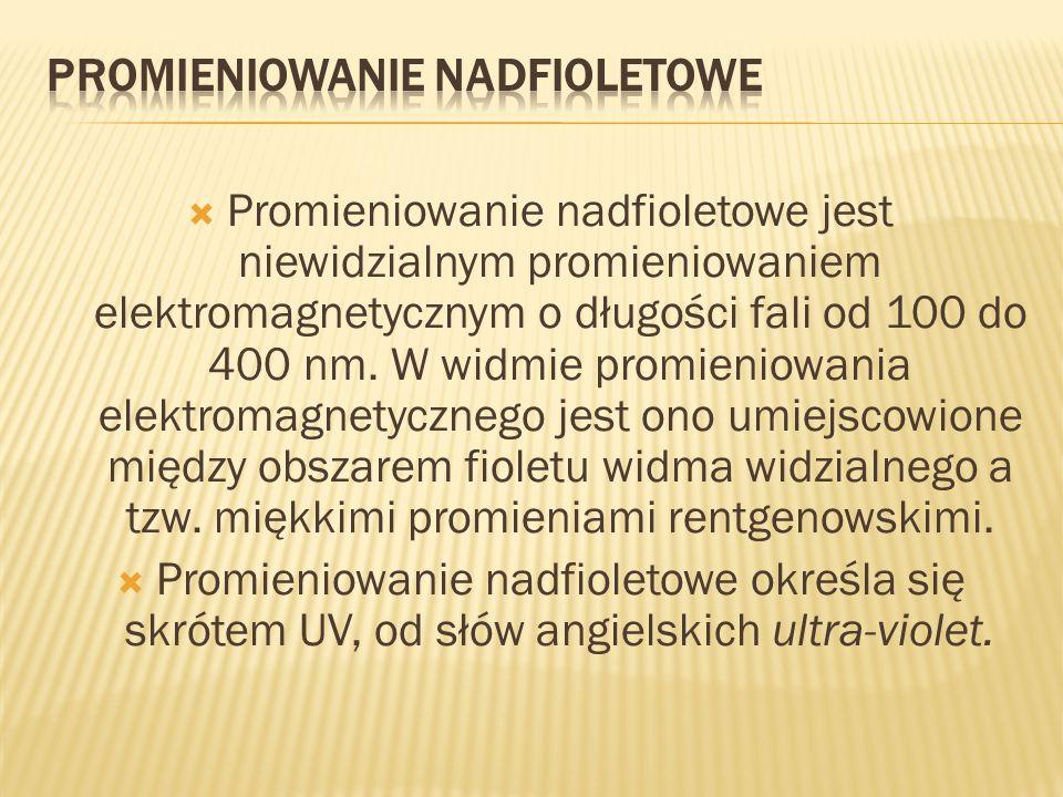 Promieniowanie nadfioletowe jest niewidzialnym promieniowaniem elektromagnetycznym o długości fali od 100 do 400 nm. W widmie promieniowania elektroma