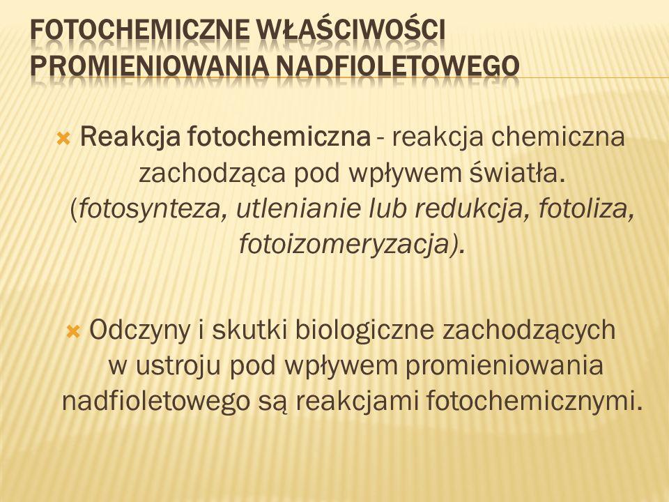 Reakcja fotochemiczna - reakcja chemiczna zachodząca pod wpływem światła. (fotosynteza, utlenianie lub redukcja, fotoliza, fotoizomeryzacja). Odczyny