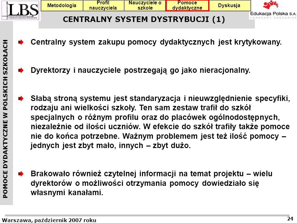 POMOCE DYDAKTYCZNE W POLSKICH SZKOŁACH Warszawa, październik 2007 roku 24 Profil nauczyciela Nauczyciele o szkole Pomoce dydaktyczne DyskusjaMetodologia CENTRALNY SYSTEM DYSTRYBUCJI (1) Centralny system zakupu pomocy dydaktycznych jest krytykowany.