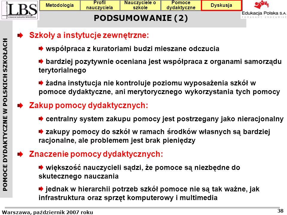 POMOCE DYDAKTYCZNE W POLSKICH SZKOŁACH Warszawa, październik 2007 roku 38 Profil nauczyciela Nauczyciele o szkole Pomoce dydaktyczne DyskusjaMetodologia PODSUMOWANIE (2) Szkoły a instytucje zewnętrzne: współpraca z kuratoriami budzi mieszane odczucia bardziej pozytywnie oceniana jest współpraca z organami samorządu terytorialnego żadna instytucja nie kontroluje poziomu wyposażenia szkół w pomoce dydaktyczne, ani merytorycznego wykorzystania tych pomocy Zakup pomocy dydaktycznych: centralny system zakupu pomocy jest postrzegany jako nieracjonalny zakupy pomocy do szkół w ramach środków własnych są bardziej racjonalne, ale problemem jest brak pieniędzy Znaczenie pomocy dydaktycznych: większość nauczycieli sądzi, że pomoce są niezbędne do skutecznego nauczania jednak w hierarchii potrzeb szkół pomoce nie są tak ważne, jak infrastruktura oraz sprzęt komputerowy i multimedia