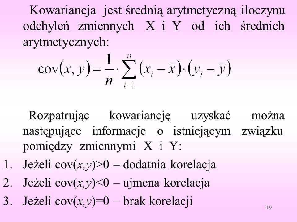 Kowariancja jest średnią arytmetyczną iloczynu odchyleń zmiennych X i Y od ich średnich arytmetycznych: Rozpatrując kowariancję uzyskać można następuj