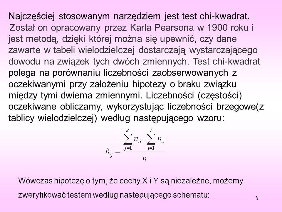 Weryfikacja hipotezy zerowej: H0: cechy X i Y są niezależne Wobec hipotezy alternatywnej : H1: cechy X i Y są zależne Do weryfikacji hipotezy stosujemy statystykę: Otrzymaną wartość należy porównać z wartością krytyczną chi-kwadrat o (k - 1)·(p - 1) stopniach swobody 9