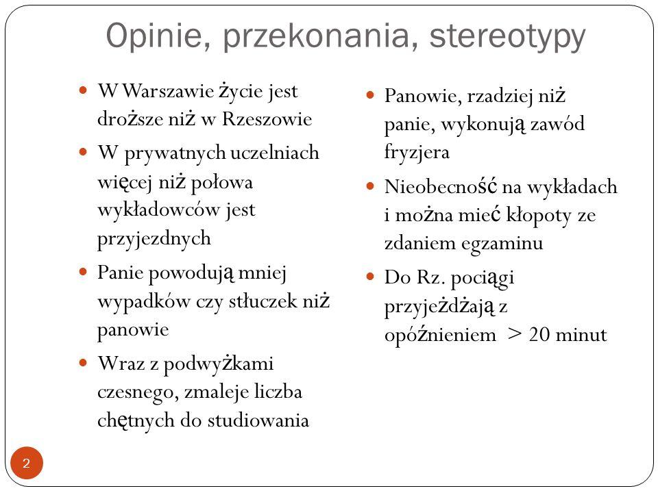 Opinie, przekonania, stereotypy W Warszawie życie jest droższe niż w Rzeszowie W prywatnych uczelniach więcej niż połowa wykładowców jest przyjezdnych