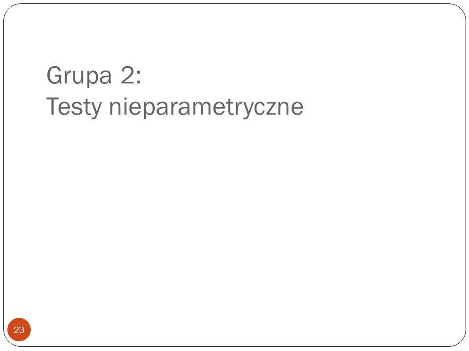Grupa 2: Testy nieparametryczne 23