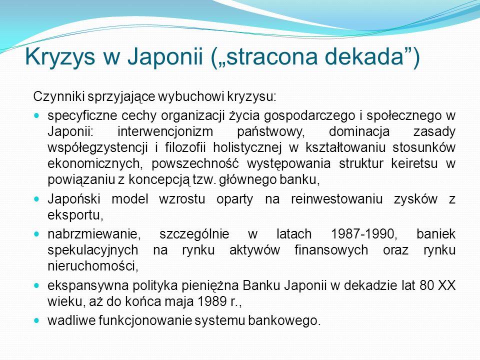 Kryzys w Japonii (stracona dekada) Czynniki sprzyjające wybuchowi kryzysu: specyficzne cechy organizacji życia gospodarczego i społecznego w Japonii: interwencjonizm państwowy, dominacja zasady współegzystencji i filozofii holistycznej w kształtowaniu stosunków ekonomicznych, powszechność występowania struktur keiretsu w powiązaniu z koncepcją tzw.