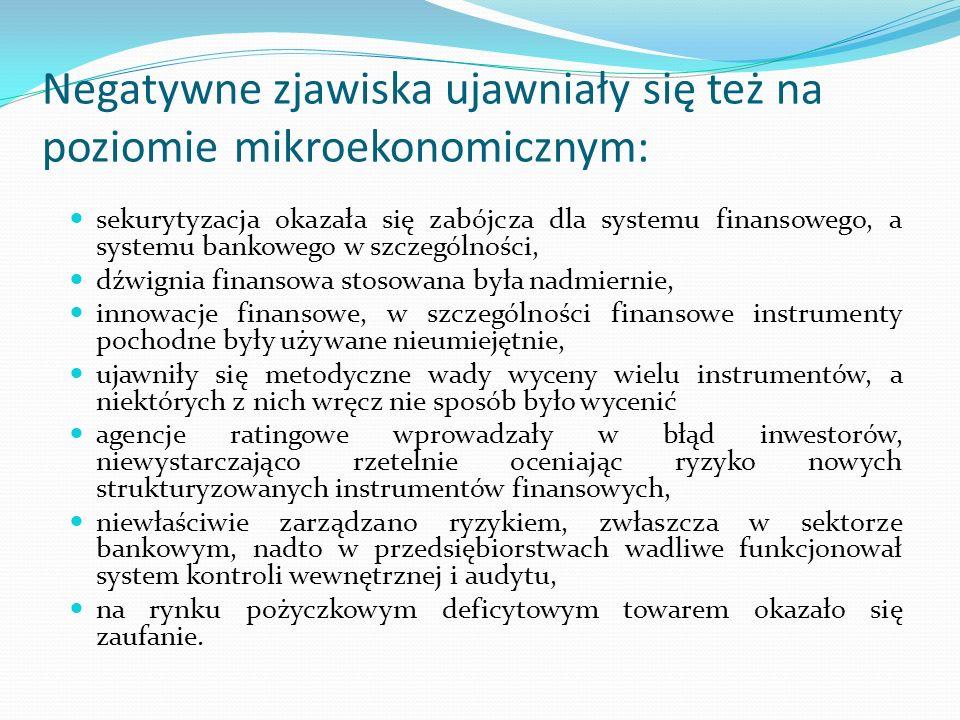 Negatywne zjawiska ujawniały się też na poziomie mikroekonomicznym: sekurytyzacja okazała się zabójcza dla systemu finansowego, a systemu bankowego w szczególności, dźwignia finansowa stosowana była nadmiernie, innowacje finansowe, w szczególności finansowe instrumenty pochodne były używane nieumiejętnie, ujawniły się metodyczne wady wyceny wielu instrumentów, a niektórych z nich wręcz nie sposób było wycenić agencje ratingowe wprowadzały w błąd inwestorów, niewystarczająco rzetelnie oceniając ryzyko nowych strukturyzowanych instrumentów finansowych, niewłaściwie zarządzano ryzykiem, zwłaszcza w sektorze bankowym, nadto w przedsiębiorstwach wadliwe funkcjonował system kontroli wewnętrznej i audytu, na rynku pożyczkowym deficytowym towarem okazało się zaufanie.