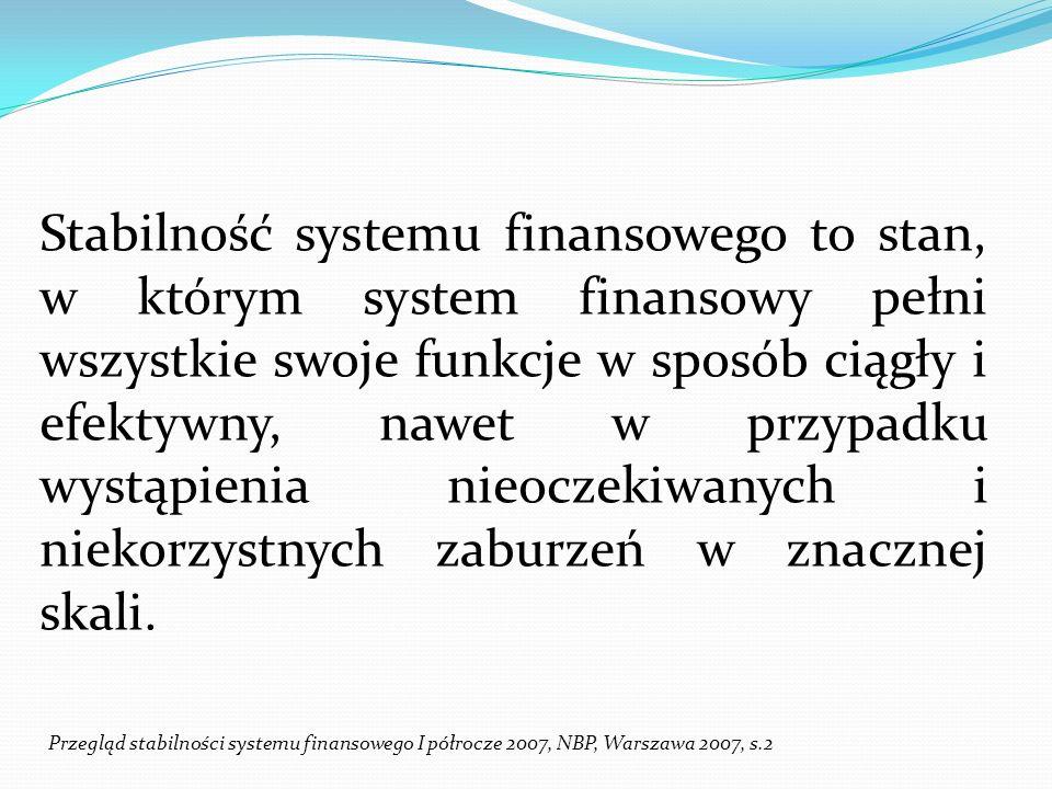 Stabilność finansowa oznaczająca w istocie stabilność systemu finansowego występuje, gdy: stabilnie funkcjonują rynki finansowe, stabilnie działają pośrednicy finansowi, bez zakłóceń funkcjonuje infrastruktura finansowa.