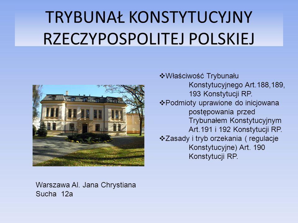 TRYBUNAŁ KONSTYTUCYJNY RZECZYPOSPOLITEJ POLSKIEJ Warszawa Al. Jana Chrystiana Sucha 12a Właściwość Trybunału Konstytucyjnego Art.188,189, 193 Konstytu