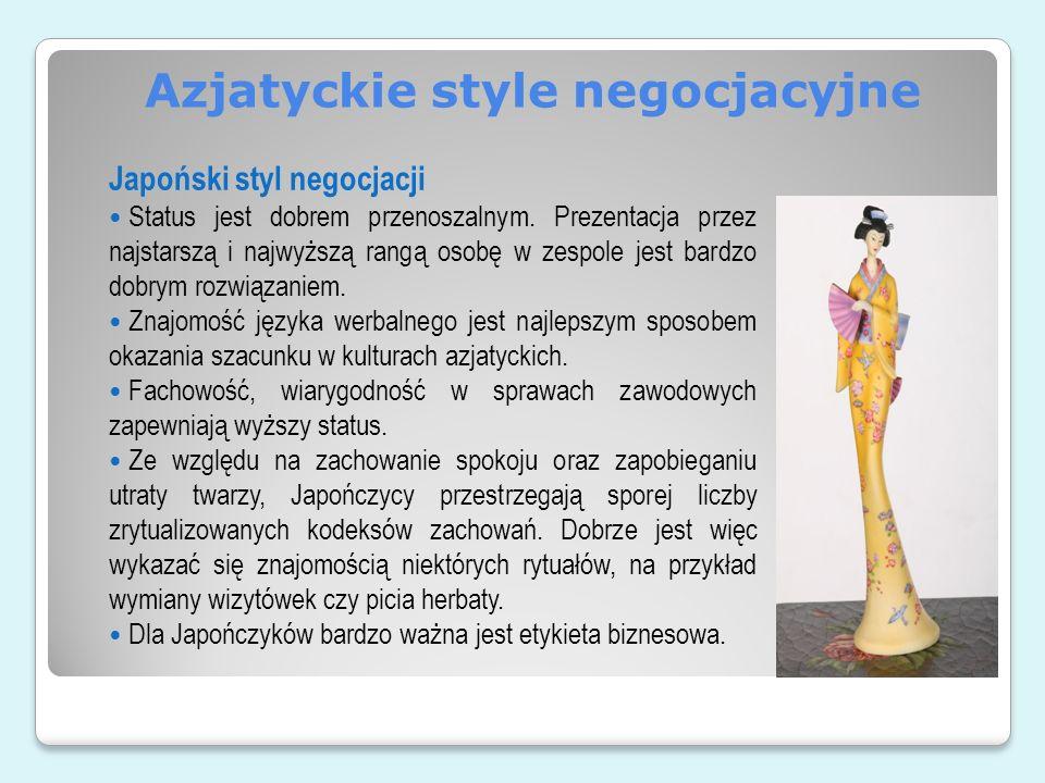Azjatyckie style negocjacyjne Japoński styl negocjacji Status jest dobrem przenoszalnym. Prezentacja przez najstarszą i najwyższą rangą osobę w zespol