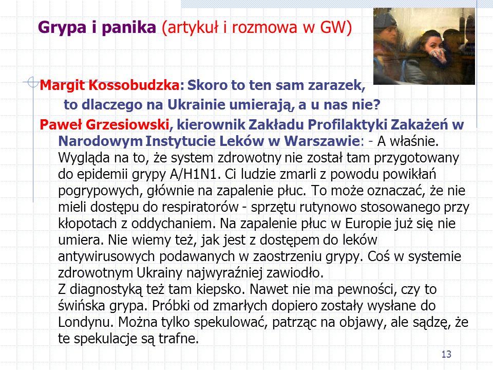 13 Grypa i panika (artykuł i rozmowa w GW) Margit Kossobudzka: Skoro to ten sam zarazek, to dlaczego na Ukrainie umierają, a u nas nie? Paweł Grzesiow