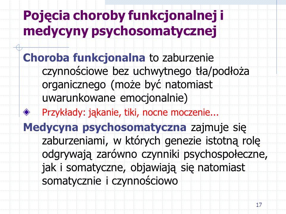17 Pojęcia choroby funkcjonalnej i medycyny psychosomatycznej Choroba funkcjonalna to zaburzenie czynnościowe bez uchwytnego tła/podłoża organicznego